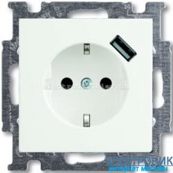 Розетка 220В +USB для подзарядки Basic 55 белый
