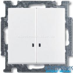 Выключатель 2-клав с подсветкой ABB Basic 55 белый