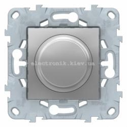 Диммер поворотно-нажимной , 200Вт LED универсальный, Алюминий, серия Unica New