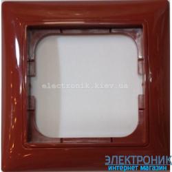 Рамка 1-пост с декоративной накладкой Красный ABB Basic 55