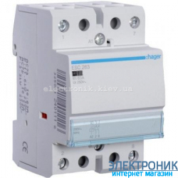 Контактор Hager ESC263 - 230В/63A, 2НО