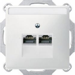 Розетка компьютерная RJ45 2-ная UTP Merten System Design полярно-белый