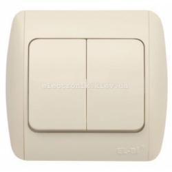 Выключатель 2-клавишный КРЕМ EL-BI Zirve Fixline