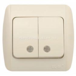 Выключатель 2-клавишный с подсветкой КРЕМ EL-BI Zirve Fixline