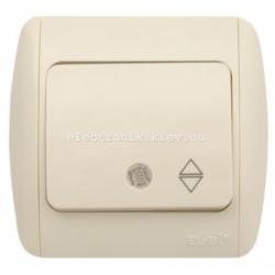 Выключатель 1-клавишный проходной с подсветкой КРЕМ EL-BI Zirve Fixline