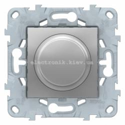 Диммер поворотно-нажимной , 400Вт для л/н и эл.трансф., Алюминий, серия Unica New
