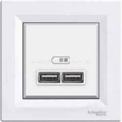 Розетка Schneider (Шнайдер) Asfora USB двойная  2,1A белая