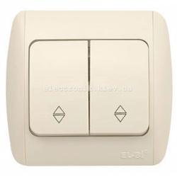 Выключатель 2-клавишный проходной КРЕМ EL-BI Zirve Fixline