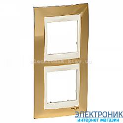 Рамка 2-я вертикальная Schneider Electric Unica Top Золото/Слоновая кость
