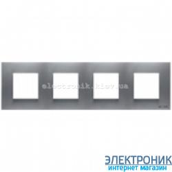 Рамка 4 пост ABВ Zenit серебро