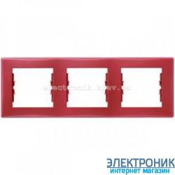 Рамка Schneider-Electric Sedna 3-поста горизонтальная красный