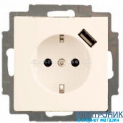 Розетка 220В + USB для подзарядки ABB Basic 55 бежевый