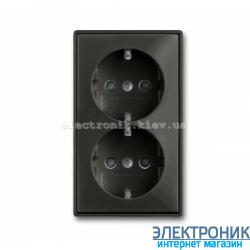 Розетка 2-пост Schuko ABB Basic 55 шато черный