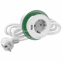 Врезной блок розетки с заземлением + USB тип А , Schneider Unica цвет белый