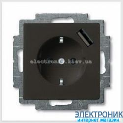 Розетка SCHUKO з/ш с устройством зарядным USB 16А 700 мА защ.от перегр.ABB Basic 55 шато