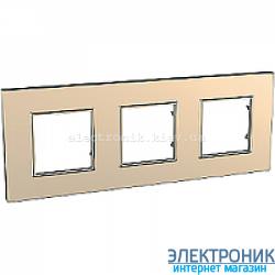 Рамка трехместная Schneider (Шнайдер) Unica Quadro Metallized Медный