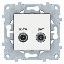 Розетка телевизионная проходная ТV-SAT, Белый, серия Unica New