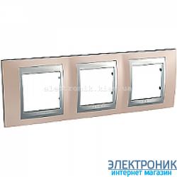 Рамка 3-я горизонтальная Schneider Electric Unica Top Оникс медный/Алюминий