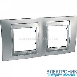 Рамка 2-я горизонтальная Schneider Electric Unica Top Матовый хром/Алюминий