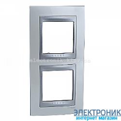 Рамка 2-я вертикальная Schneider Electric Unica Top Белоснежный/Алюминий