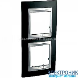 Рамка 2-я вертикальная Schneider Electric Unica Top Черный родий/Алюминий