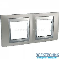 Рамка 2-я горизонтальная Schneider Electric Unica Top Матовый никель/Алюминий