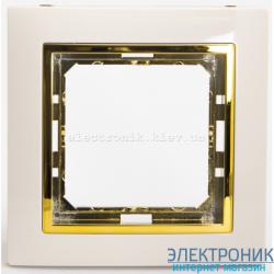 Рамка 1-ая Tesla LXL крем/золотой