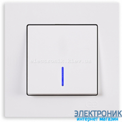 Выключатель 1-кл. с подсветкой белый Eqona Gunsan