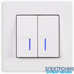 Выключатель 2-кл. с подсветкой белый Eqona Gunsan