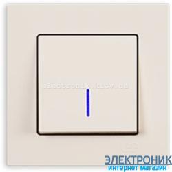 Выключатель 1-кл. с подсветкой крем Eqona Gunsan