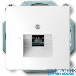 Розетка телефонная 1-ая 4 контакта, RJ-11, цвет Белый лотос, Schneider Merten D-Life