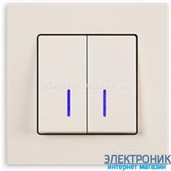 Выключатель 2-кл. с подсветкой крем Eqona Gunsan