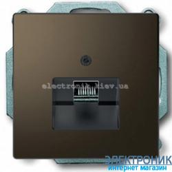 Розетка компьютерная 1-ая кат.6, RJ-45 (интернет) металлическая, цвет Мокка, Schneider Merten D-Life