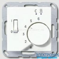 Термостат 230 В~ 10А с выносным датчиком для электрического подогрева пола механизм Eberle JUNG Eco Profi Белый