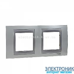 Рамка 2-я горизонтальная Schneider Electric Unica Top Белоснежный/Алюминий