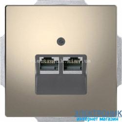 Розетка компьютерная 2-ая кат.6, RJ-45 (интернет), цвет Никель, D-Life