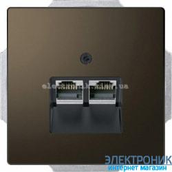 Розетка компьютерная 2-ая кат.6, RJ-45 (интернет) металлическая, цвет Мокка, Schneider Merten D-Life