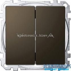Выключатель для жалюзи (рольставней) кнопочный металлический, цвет Мокка, Schneider Merten D-Life