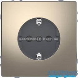 Розетка 1-ая электрическая , с заземлением и защитными шторками, цвет Никель, D-Life