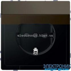 Розетка 1-ая электрическая, с заземлением, крышкой IР44, влагозащищенная металлическая, цвет Мокка, Schneider Merten D-Life