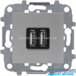 Розетка USB для подзарядки 1400мА/700Ма  ABВ Zenit серебро