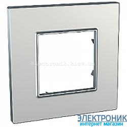Рамка одноместная Schneider (Шнайдер) Unica Quadro Metallized Серебрянный