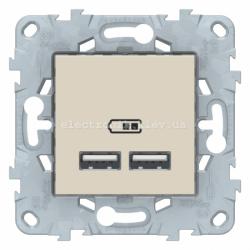 Розетка USB 2-ая (для подзарядки), Бежевый, серия Unica New