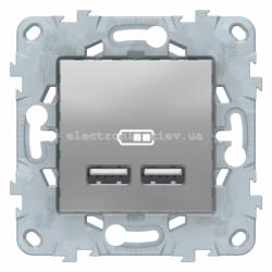 Розетка USB 2-ая (для подзарядки), Алюминий, серия Unica New