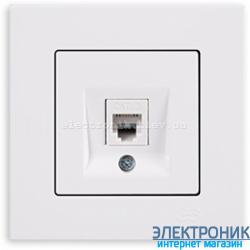 Розетка телефонная RJ-12 белая Eqona Gunsan