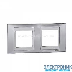 Рамка 2-я горизонтальная Schneider Electric Unica Top Блестящий хром/Белый