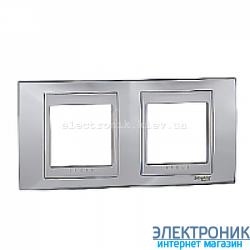 Рамка 2-я горизонтальная Schneider Electric Unica Top Блестящий хром/Алюминий