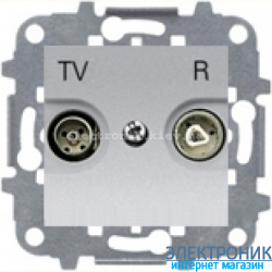 Розетка TV+R проходная ABВ Zenit серебро