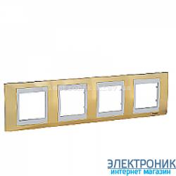 Рамка 4-я горизонтальная Schneider Electric Unica Top Золото/Слоновая кость