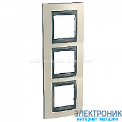 Рамка 3-я вертикальная Schneider Electric Unica Top Титановый/Графит